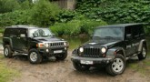 Jeep Wrangler и Hummer H3.